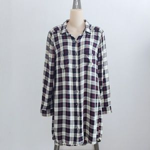 Marine Layer Plaid Long Sleeve Tunic Dress Medium